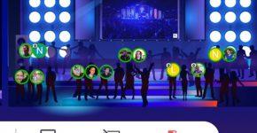 רחבת הריקודים במתחם הדייטינג הווירטואלי של SQLink. צילום מסך