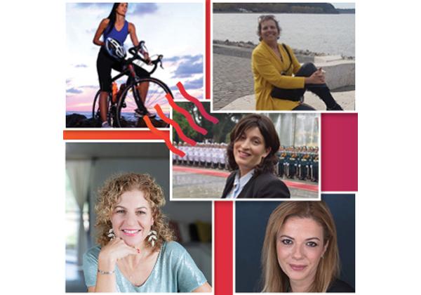 """לכל אישה יש סיפור. מימין למעלה, בכיוון השעון: דינה פרג'ון רוזנטל,לינוי בר גפן,יפעת טל,אולפת חיידר; במרכז: רבקה רביץ. צילום: יח""""צ"""