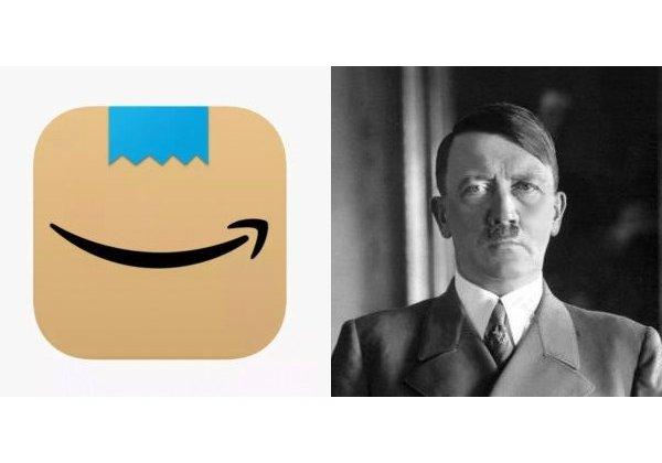 מימין: אדולף היטלר. צילום: ויקיפדיה. משמאל: הלוגו של אמזון שהוחלף בגלל דמיון לצורר הנאצי