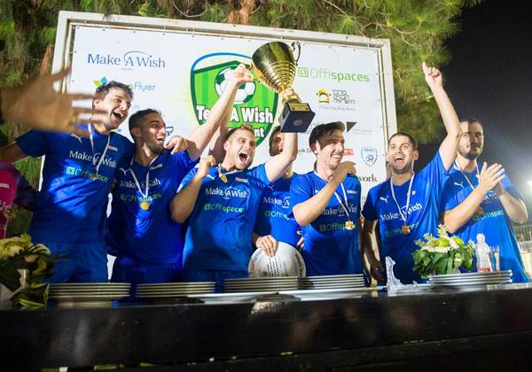 חברי נבחרת צ'ק פוינט, שזכו בטורניר Tech A Wish הקודם. צילום: גדי סיארה
