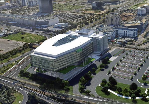 המרכז החדש של אינטל בחיפה מלמעלה. הדמייה: אינטל