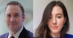 """מימין: אנסטסיה קזאקובה, מנהלת בכירה למדיניות ציבורית בקספרסקי, וקרייג ג'ונס, ראש מערך פשיעת הסייבר באינטרפול. צילום: יח""""צ RSA"""