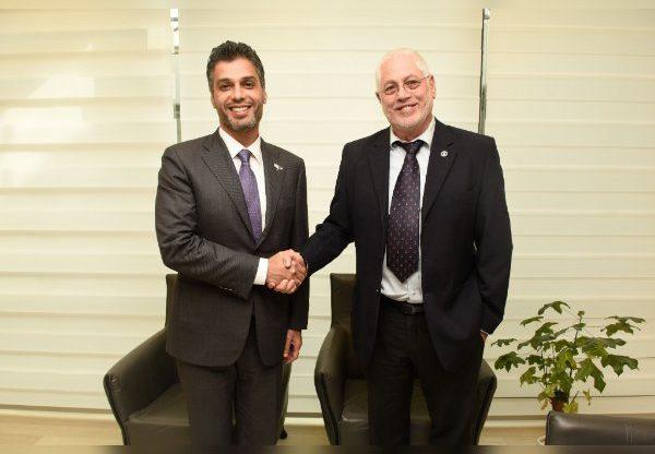שגריר האמירויות מוחמד אל חאג'ה (משמאל) עם נשיא הטכניון, פרופ' אורי סיון. צילום: רמי שלוש, דוברות הטכניון