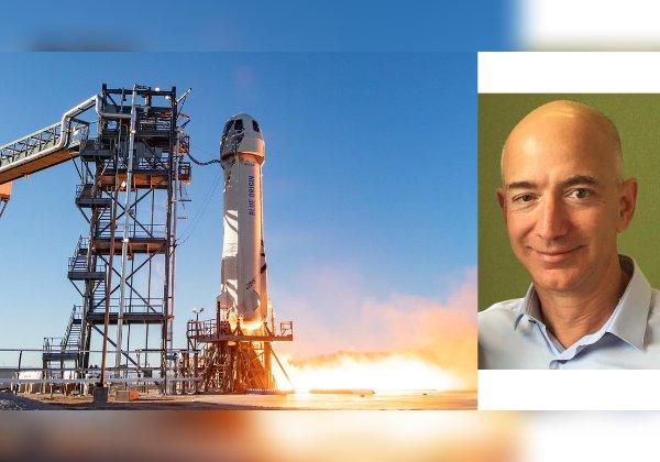 ג'ף בזוס, מייסד בלו אוריג'ין. צילום: ויקיפדיה. טיסת החלל של החברה. צילום: פליקר
