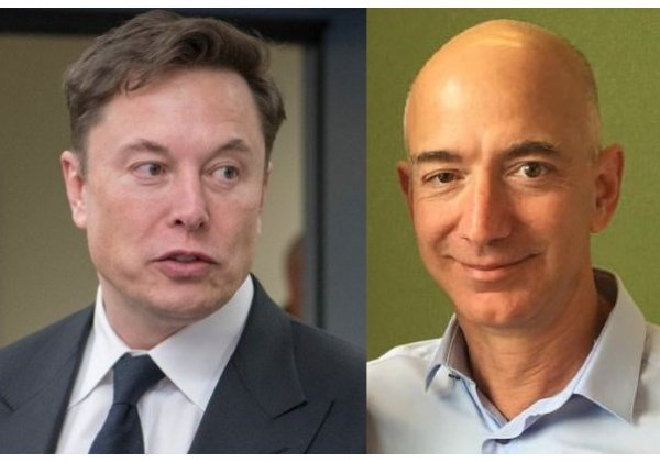 היזמים שכבר הגיעו לחלל. מימין לשמאל: ג'ף בזוס ואילון מאסק. צילום מעובד: מתוך ויקיפדיה