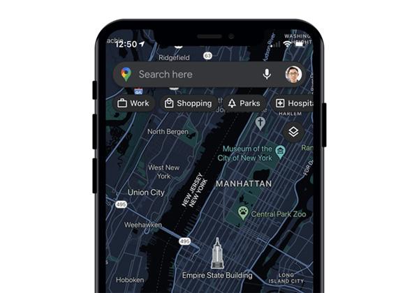 מצב אפל ב-Google Maps. צילום: גוגל