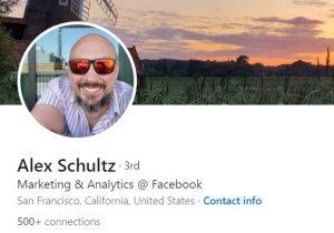 "אלכס שולץ, סמנכ""ל שיווק ואנליטיקה ראשי, פייסבוק. צילום מסך מחשבון הלינקדאין"