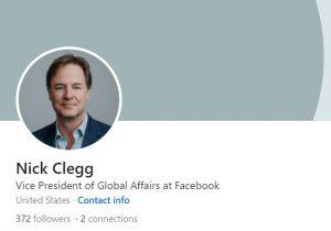ניק קלג, סגן נשיא לעניינים גלובליים, פייסבוק. צילום מסך מדף הלינקדאין