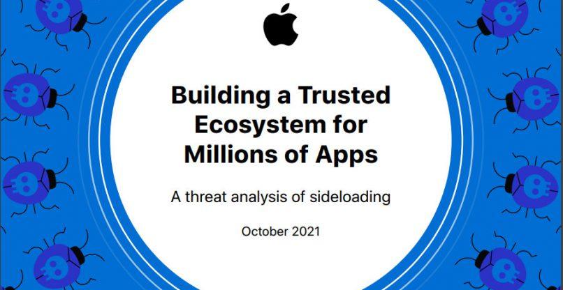 איומים רבים בהורדה ממקור צד ג'. ניתוח האיומים של אפל. צילום מסך