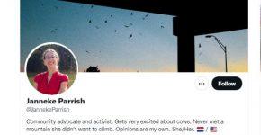 פוטרה. ג'אנקה פאריש, מנהיגת תנועת AppleToo#. צילום מסך מדף הטוויטר שלה
